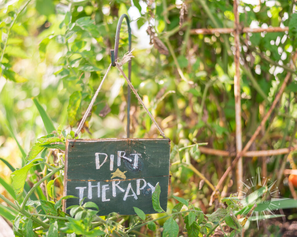 "Sign in garden that says ""dirt therapy"" 