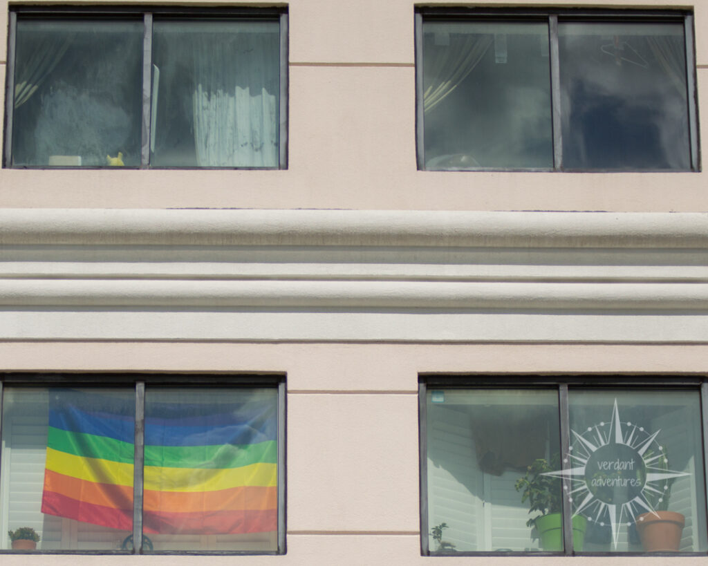 LGBTQ rainbow pride flag in the window of an apartment | eco-social sustainability