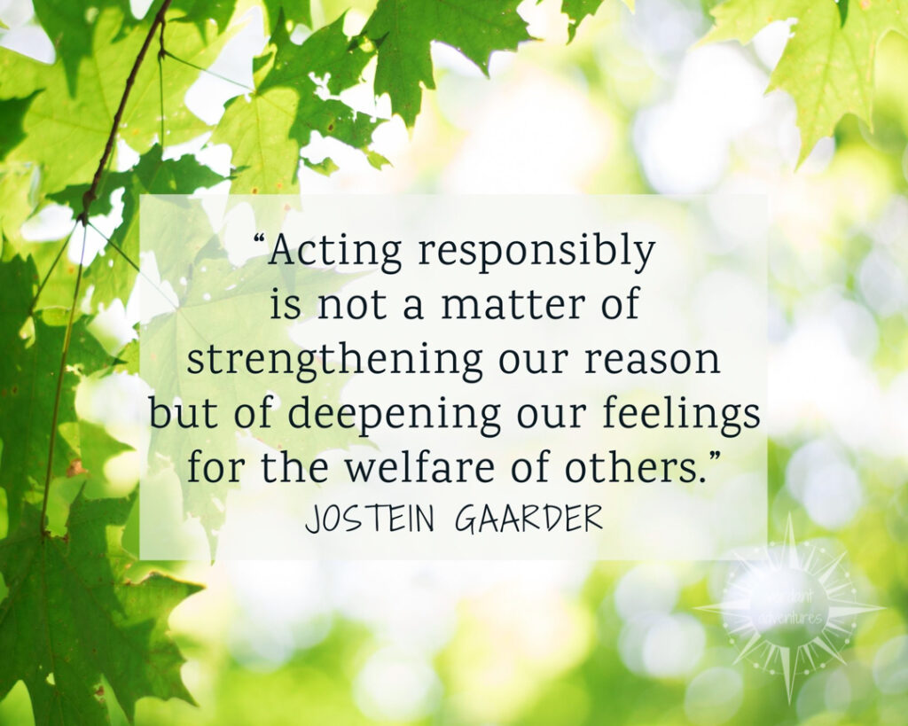 Quote about acting responsibly on a background image of green leaves