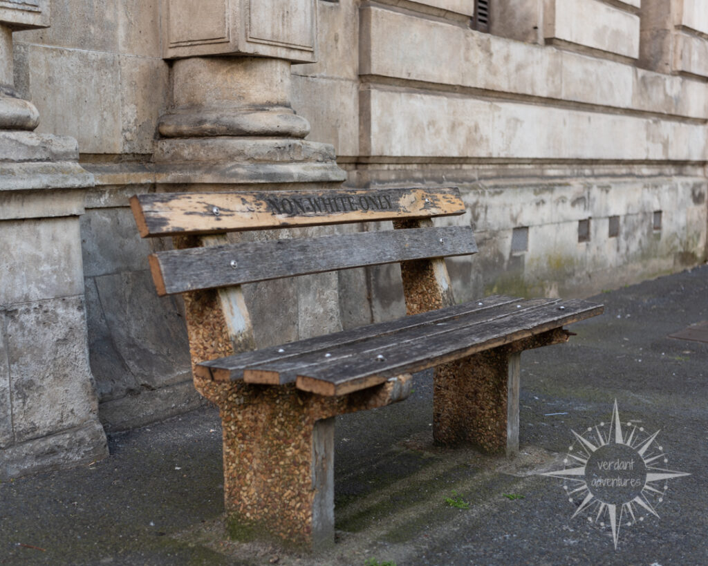 "Historic bench in Cape Town, South Africa, that says ""Non-whites only"" 