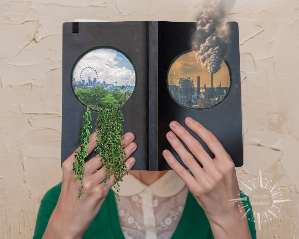 Ellie holding a journal with portals into a polluted world and a greener world | individual sustainability