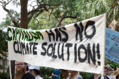 "Sign at the March For Science advocating for environmental and economic sustainability says ""Capitalism has no climate solution"""