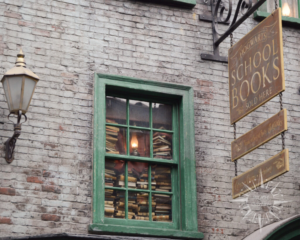Harry Potter bookshop sign and window at Universal Studios Orlando | educational sustainability