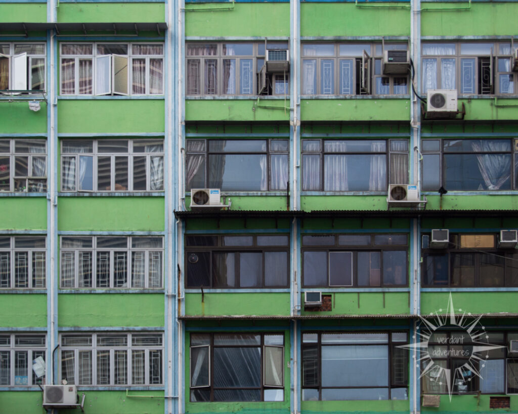 Apartment building in Hong Kong with window air conditioners