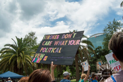 "March for Science protest sign that says ""Strokes don't care what your political viewpoint is."""