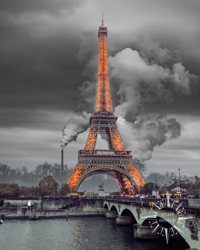 Eiffel tower with air pollution in the background