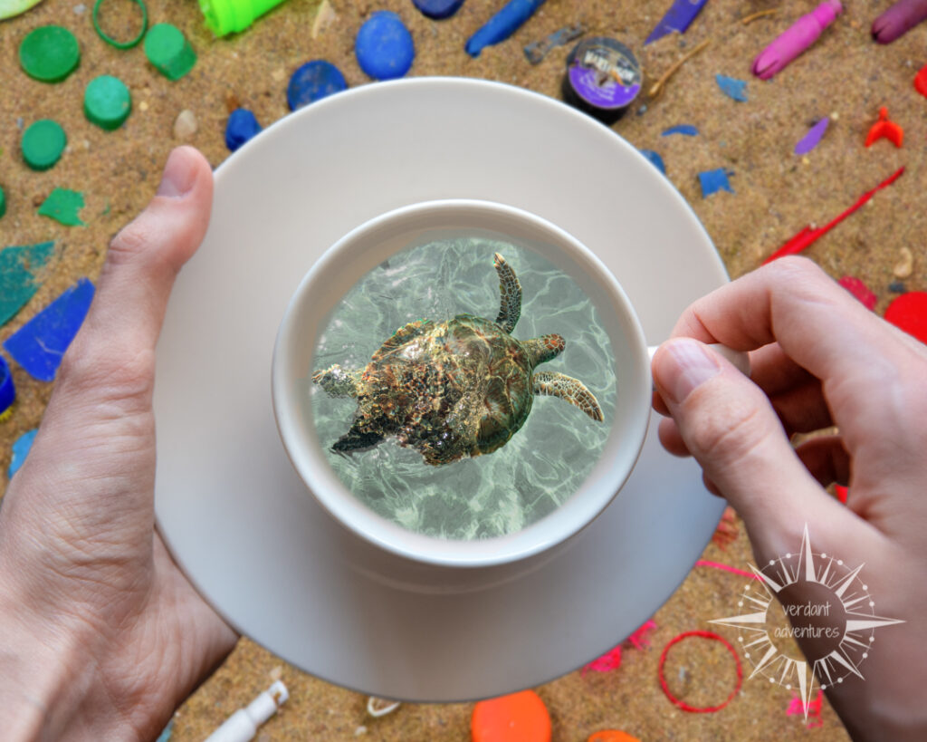Photoshopped picture of a sea turtle in a teacup against a beach full of plastic trash