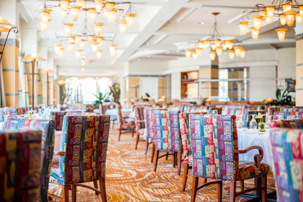 Empty tables at Disney's Grand Floridian Resort restaurant Citricos